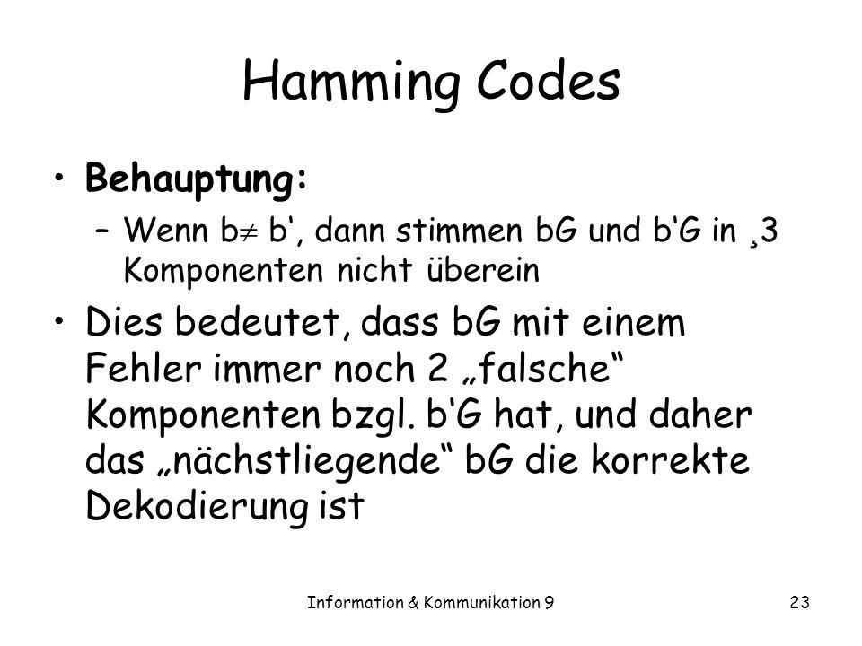 Information & Kommunikation 923 Hamming Codes Behauptung: –Wenn b b, dann stimmen bG und bG in ¸ 3 Komponenten nicht überein Dies bedeutet, dass bG mi