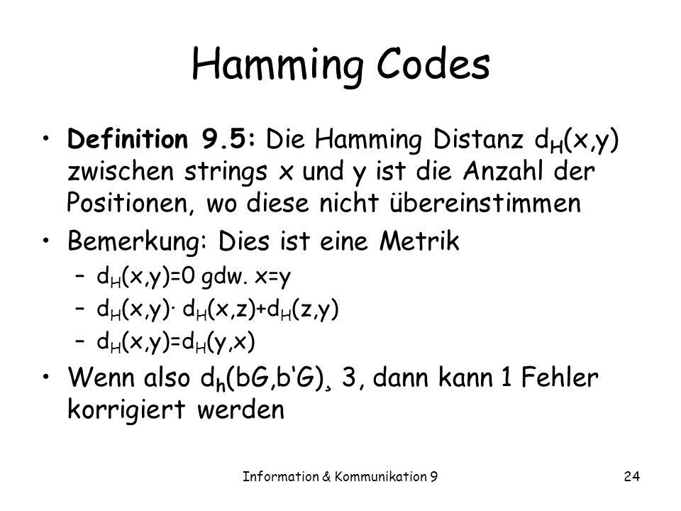 Information & Kommunikation 924 Hamming Codes Definition 9.5: Die Hamming Distanz d H (x,y) zwischen strings x und y ist die Anzahl der Positionen, wo