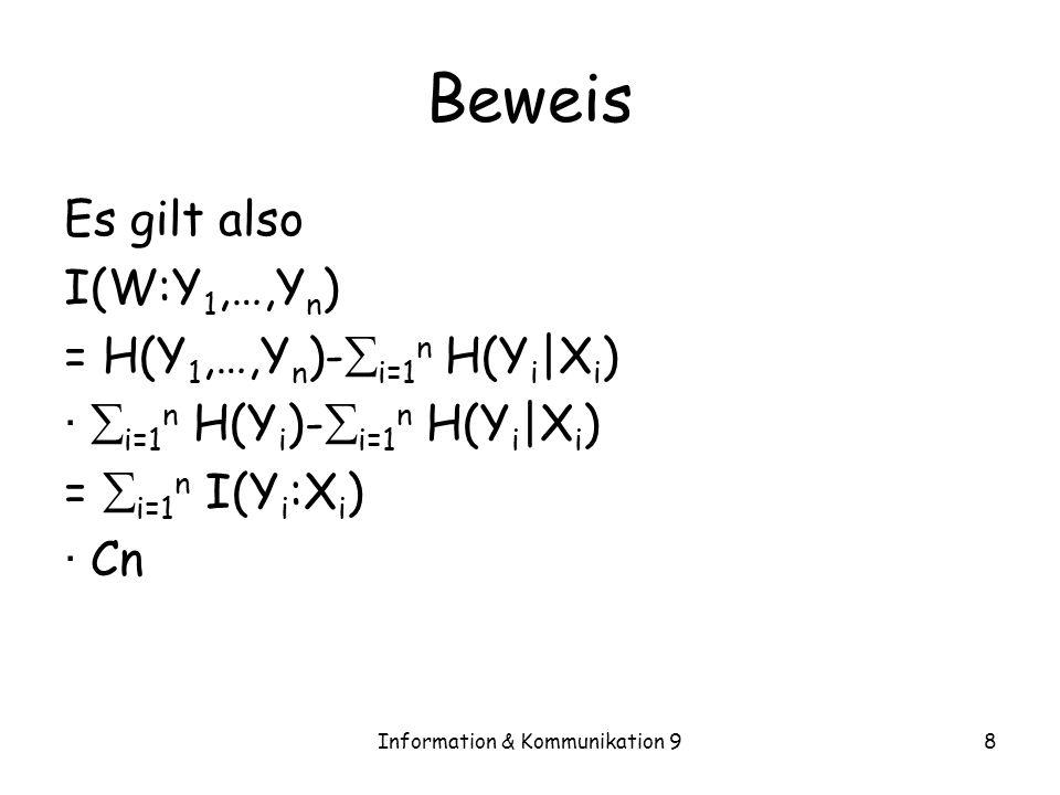 Information & Kommunikation 98 Beweis Es gilt also I(W:Y 1,…,Y n ) = H(Y 1,…,Y n )- i=1 n H(Y i |X i ) · i=1 n H(Y i )- i=1 n H(Y i |X i ) = i=1 n I(Y