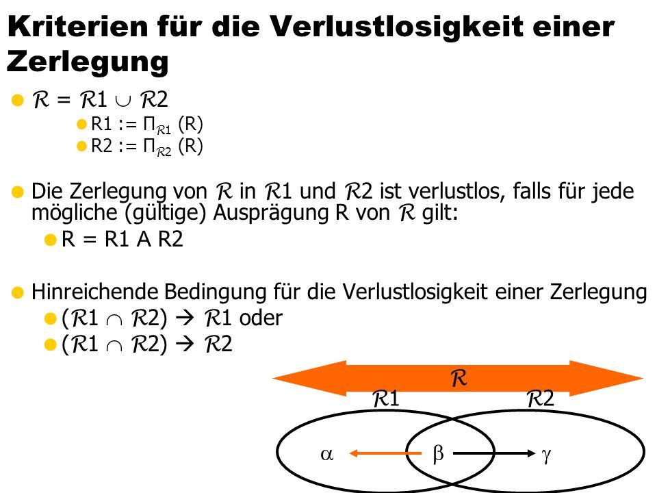 Kriterien für die Verlustlosigkeit einer Zerlegung R = R 1 R 2 R1 := Π R 1 (R) R2 := Π R 2 (R) Die Zerlegung von R in R 1 und R 2 ist verlustlos, fall