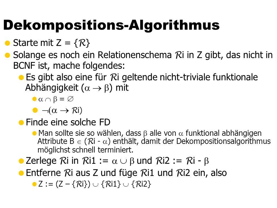 Dekompositions-Algorithmus Starte mit Z = { R } Solange es noch ein Relationenschema R i in Z gibt, das nicht in BCNF ist, mache folgendes: Es gibt al