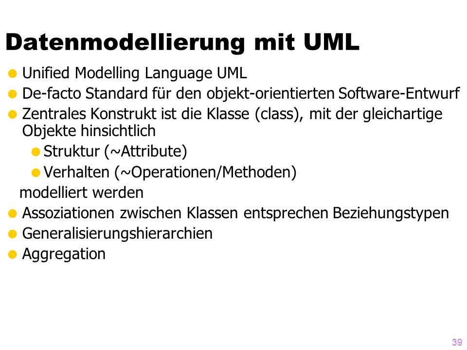 39 Datenmodellierung mit UML Unified Modelling Language UML De-facto Standard für den objekt-orientierten Software-Entwurf Zentrales Konstrukt ist die