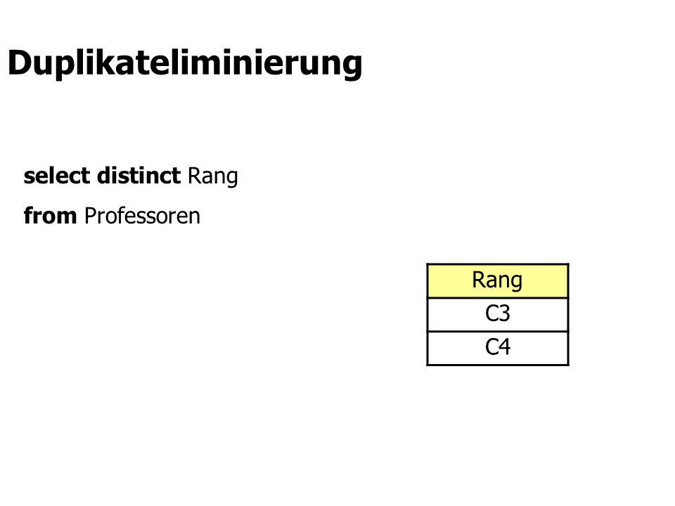select distinct Rang from Professoren Rang C3 C4 Duplikateliminierung