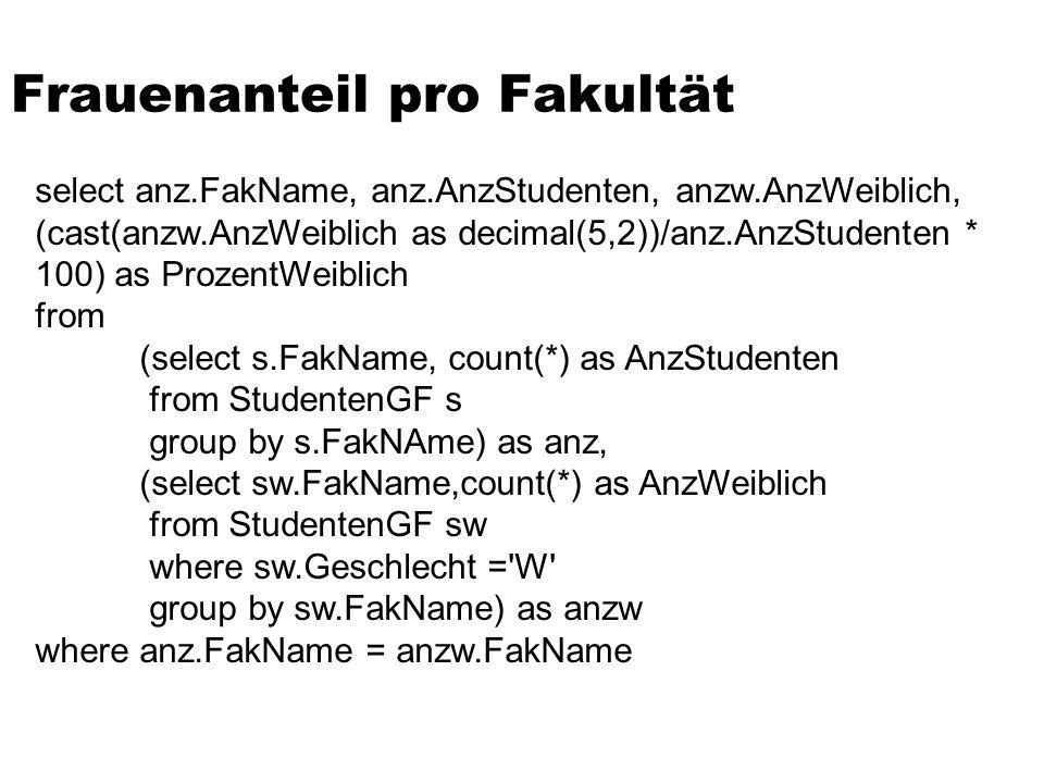 Frauenanteil pro Fakultät select anz.FakName, anz.AnzStudenten, anzw.AnzWeiblich, (cast(anzw.AnzWeiblich as decimal(5,2))/anz.AnzStudenten * 100) as P