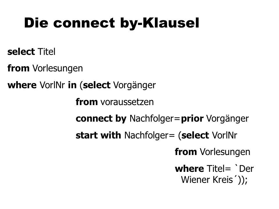 Die connect by-Klausel select Titel from Vorlesungen where VorlNr in (select Vorgänger fromvoraussetzen connect by Nachfolger=prior Vorgänger start with Nachfolger= (select VorlNr from Vorlesungen where Titel= `Der Wiener Kreis´));