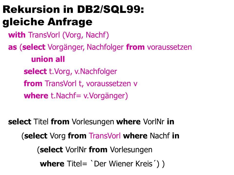 Rekursion in DB2/SQL99: gleiche Anfrage with TransVorl (Vorg, Nachf) as (select Vorgänger, Nachfolger from voraussetzen union all select t.Vorg, v.Nac