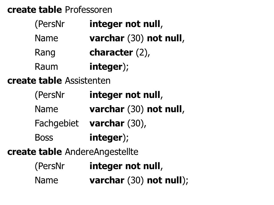 create table Professoren (PersNrinteger not null, Name varchar (30) not null, Rangcharacter (2), Raum integer); create table Assistenten (PersNrinteger not null, Name varchar (30) not null, Fachgebietvarchar (30), Bossinteger); create table AndereAngestellte (PersNrinteger not null, Name varchar (30) not null);