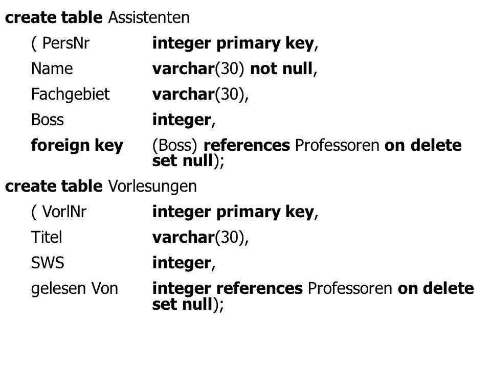 create table Assistenten ( PersNrinteger primary key, Namevarchar(30) not null, Fachgebietvarchar(30), Bossinteger, foreign key(Boss) references Professoren on delete set null); create table Vorlesungen ( VorlNrinteger primary key, Titelvarchar(30), SWSinteger, gelesen Voninteger references Professoren on delete set null);