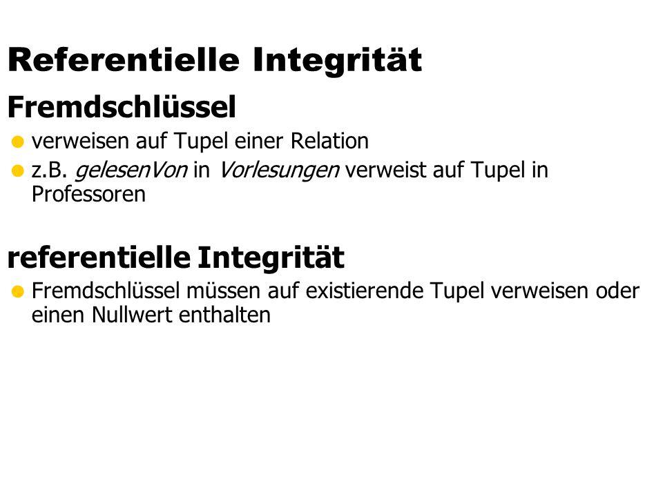Referentielle Integrität in SQL Kandidatenschlüssel: unique Primärschlüssel: primary key Fremdschlüssel: foreign key create table R ( integer primary key,...