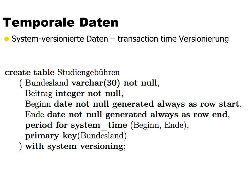 Temporale Daten System-versionierte Daten – transaction time Versionierung