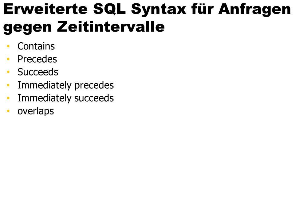 Erweiterte SQL Syntax für Anfragen gegen Zeitintervalle Contains Precedes Succeeds Immediately precedes Immediately succeeds overlaps