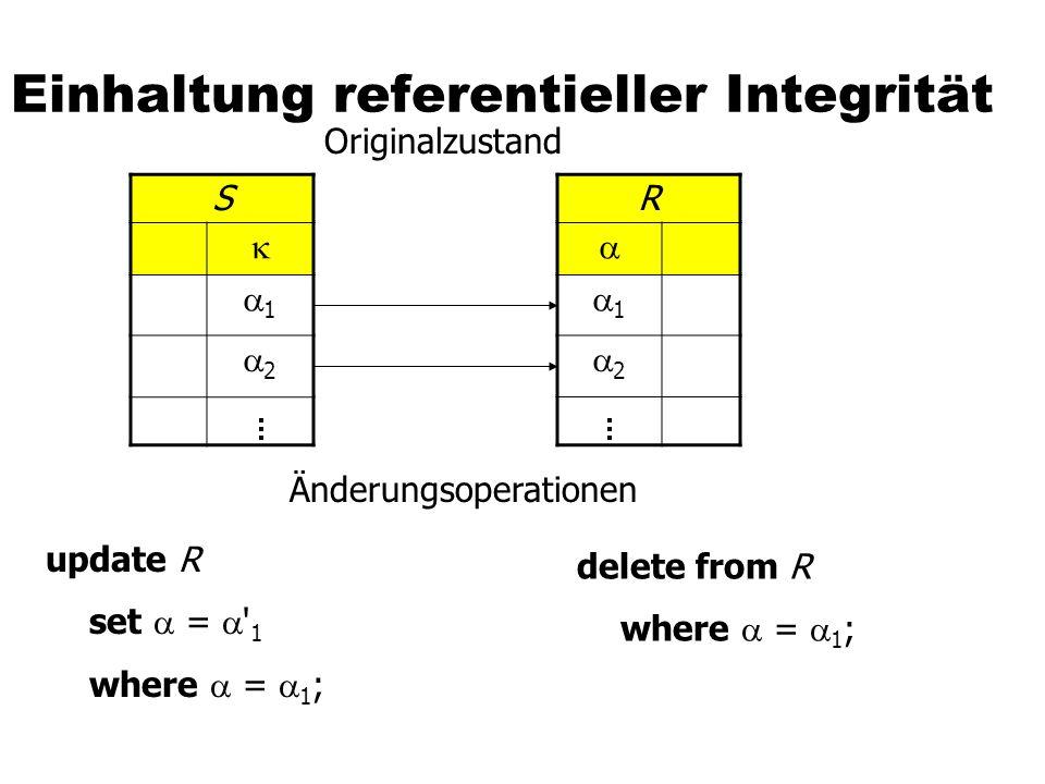 S 1 2 R 1 2 S 2 R 2 Kaskadieren create table S (..., integer references R on update cascade ); create table S (..., integer references R on delete cascade );
