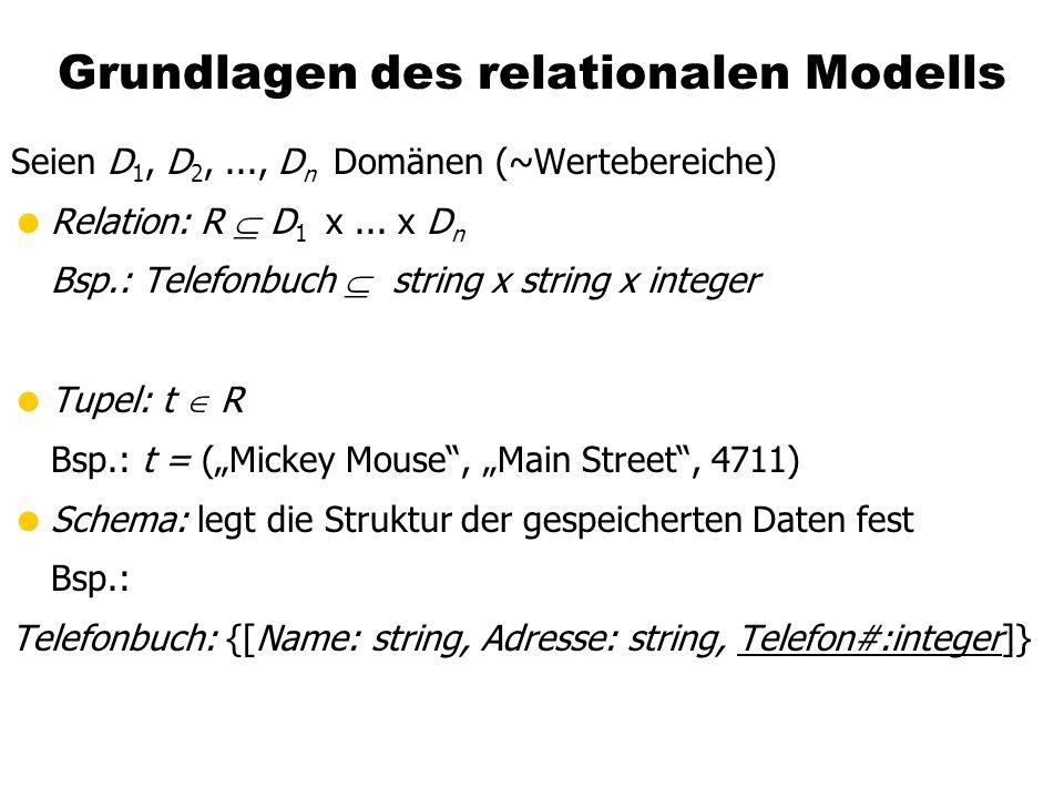 Grundlagen des relationalen Modells Seien D 1, D 2,..., D n Domänen (~Wertebereiche) Relation: R D 1 x...