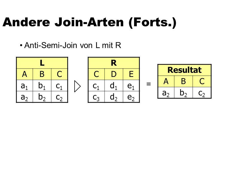 Andere Join-Arten (Forts.) L ABC a1a1 b1b1 c1c1 a2a2 b2b2 c2c2 R CDE c1c1 d1d1 e1e1 c3c3 d2d2 e2e2 Resultat ABC a2a2 b2b2 c2c2 = Anti-Semi-Join von L mit R