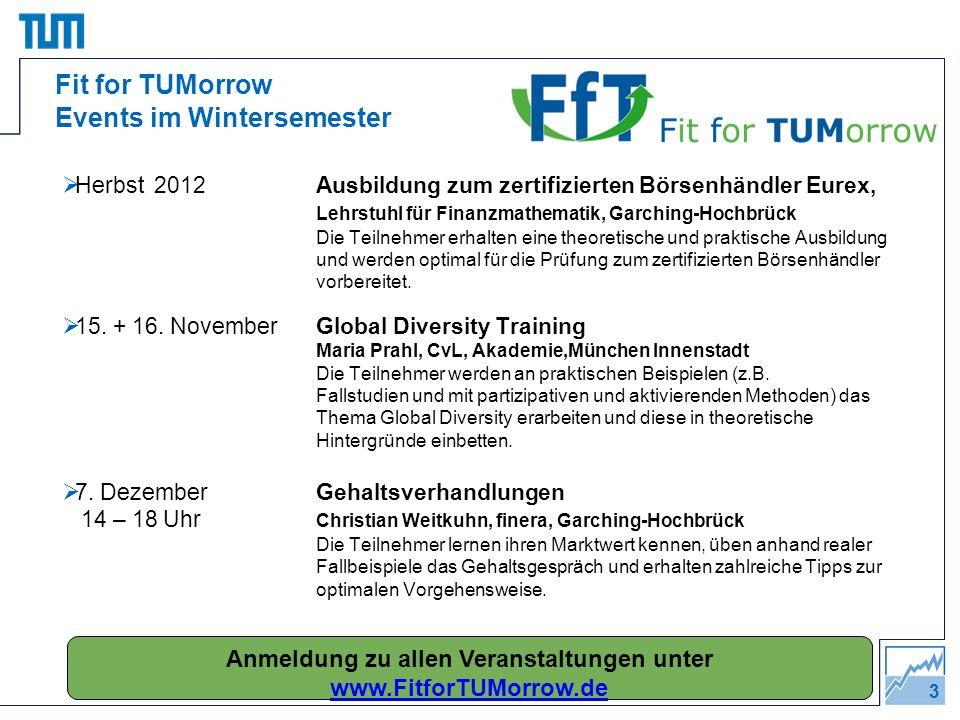 3 Herbst 2012Ausbildung zum zertifizierten Börsenhändler Eurex, Lehrstuhl für Finanzmathematik, Garching-Hochbrück Die Teilnehmer erhalten eine theore