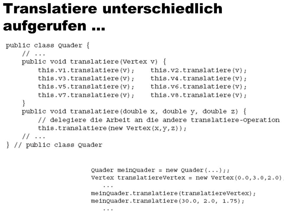 Translatiere unterschiedlich aufgerufen … 19