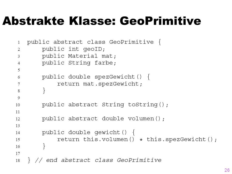 Abstrakte Klasse: GeoPrimitive 26
