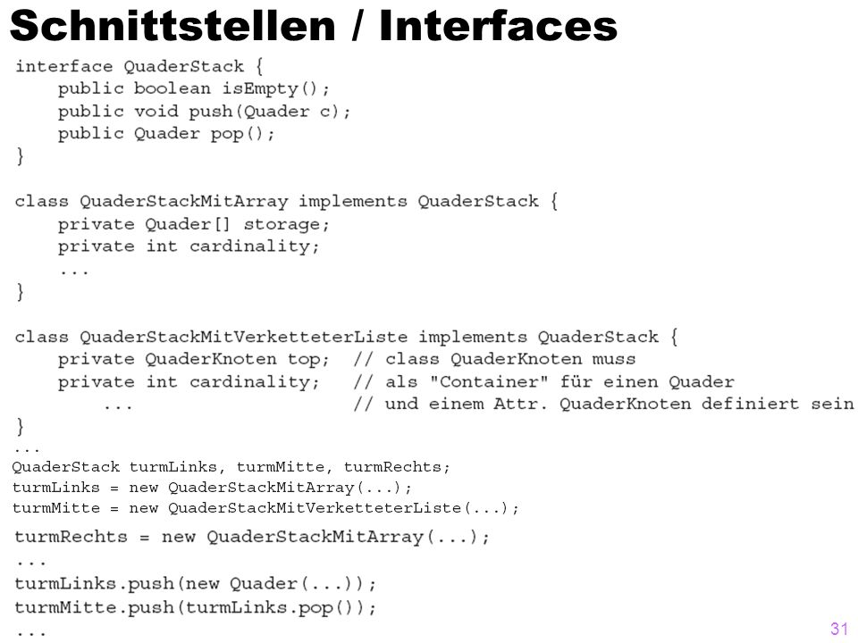 Schnittstellen / Interfaces 31