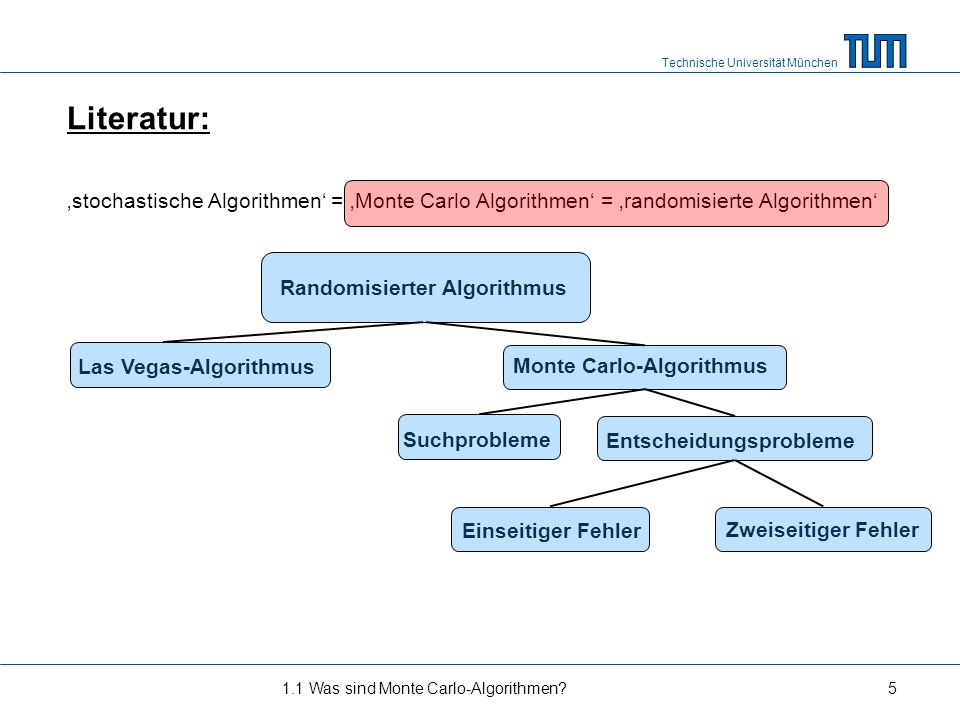 Technische Universität München Literatur: stochastische Algorithmen = Monte Carlo Algorithmen = randomisierte Algorithmen 1.1 Was sind Monte Carlo-Alg