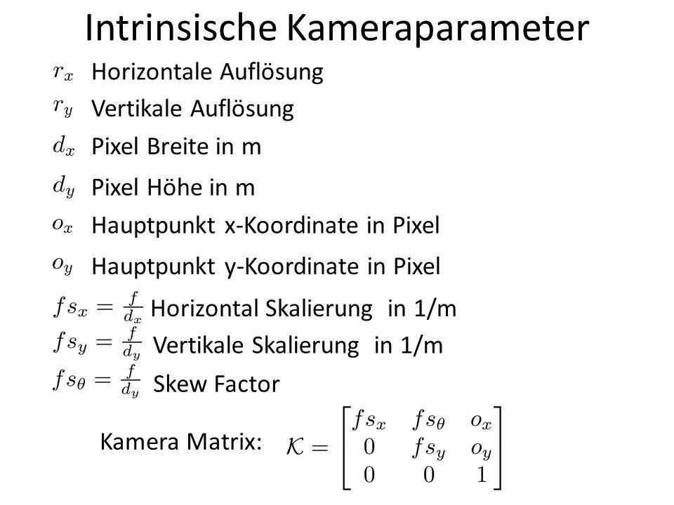 Intrinsische Kameraparameter Horizontale Auflösung Vertikale Auflösung Pixel Breite in m Pixel Höhe in m Hauptpunkt x-Koordinate in Pixel Hauptpunkt y