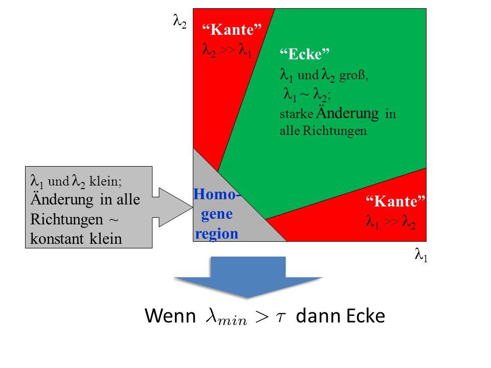 2 Ecke 1 und 2 groß, 1 ~ 2 ; starke Änderung in alle Richtungen 1 und 2 klein; Änderung in alle Richtungen ~ konstant klein Kante 1 >> 2 Kante 2 >> 1