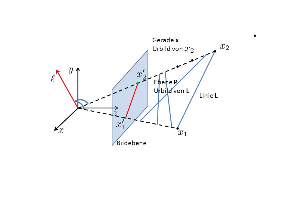 Linie L Bildebene Ebene P Urbild von L Gerade x Urbild von