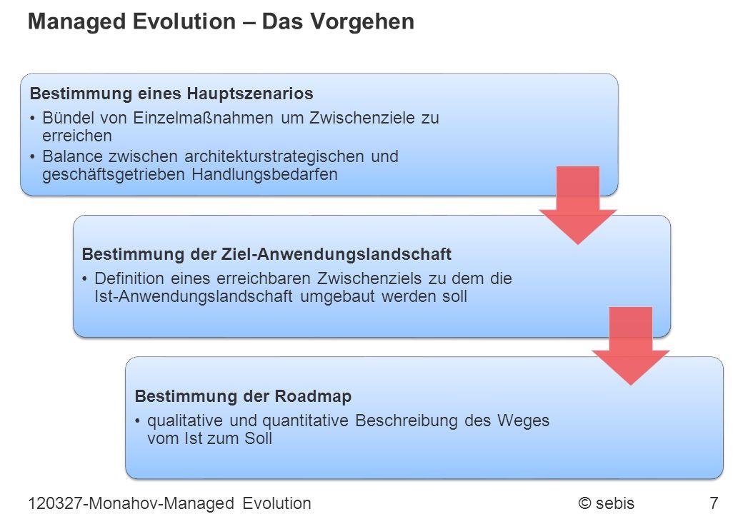 Managed Evolution – Das Vorgehen Bestimmung eines Hauptszenarios Bündel von Einzelmaßnahmen um Zwischenziele zu erreichen Balance zwischen architektur