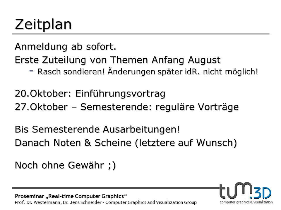 computer graphics & visualization Zeitplan Anmeldung ab sofort. Erste Zuteilung von Themen Anfang August - Rasch sondieren! Änderungen später idR. nic