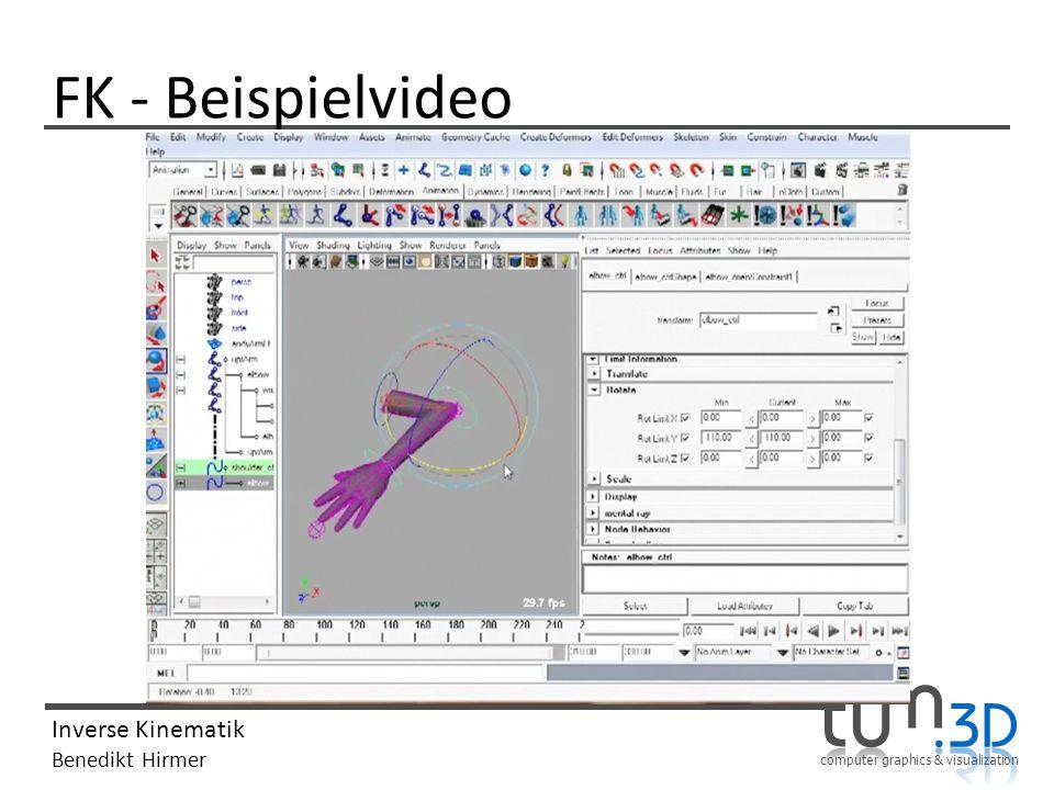 computer graphics & visualization Inverse Kinematik Benedikt Hirmer FK - Beispielvideo