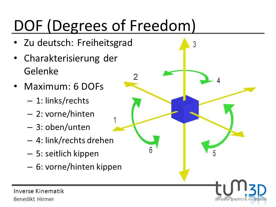 computer graphics & visualization Inverse Kinematik Benedikt Hirmer DOF (Degrees of Freedom) 1 DOF: Ellbogen 3DOF: Schulter