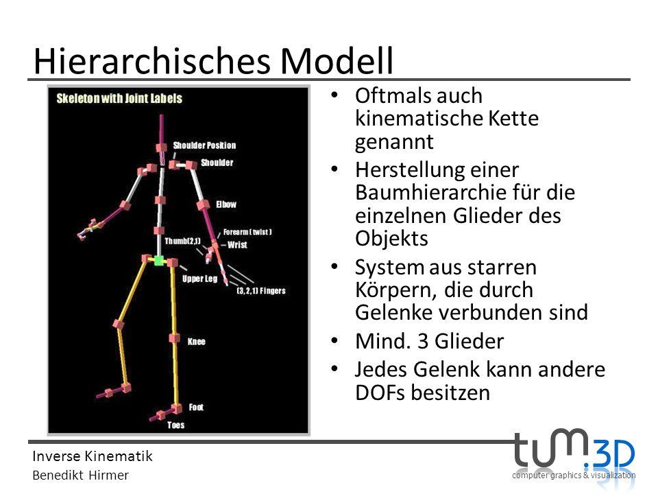 computer graphics & visualization Inverse Kinematik Benedikt Hirmer Hierarchisches Modell Oftmals auch kinematische Kette genannt Herstellung einer Ba