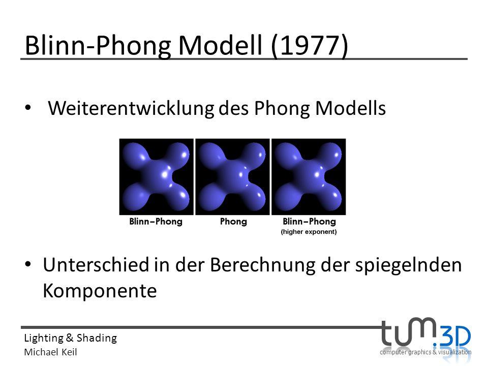 computer graphics & visualization Lighting & Shading Michael Keil Blinn-Phong Modell (1977) Weiterentwicklung des Phong Modells Unterschied in der Ber