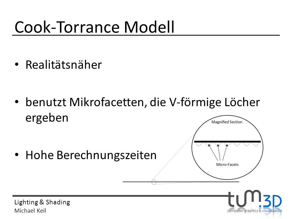 computer graphics & visualization Lighting & Shading Michael Keil Cook-Torrance Modell Realitätsnäher benutzt Mikrofacetten, die V-förmige Löcher erge
