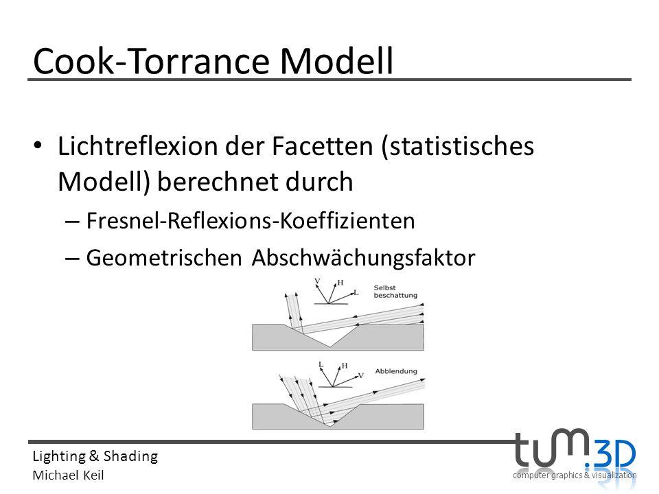 computer graphics & visualization Lighting & Shading Michael Keil Cook-Torrance Modell Lichtreflexion der Facetten (statistisches Modell) berechnet du