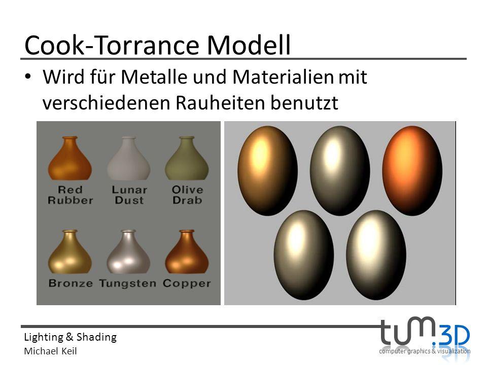 computer graphics & visualization Lighting & Shading Michael Keil Cook-Torrance Modell Wird für Metalle und Materialien mit verschiedenen Rauheiten be