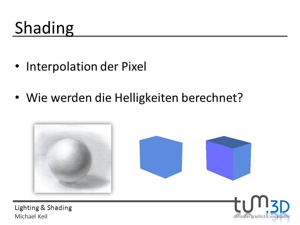 computer graphics & visualization Lighting & Shading Michael Keil Shading Interpolation der Pixel Wie werden die Helligkeiten berechnet?