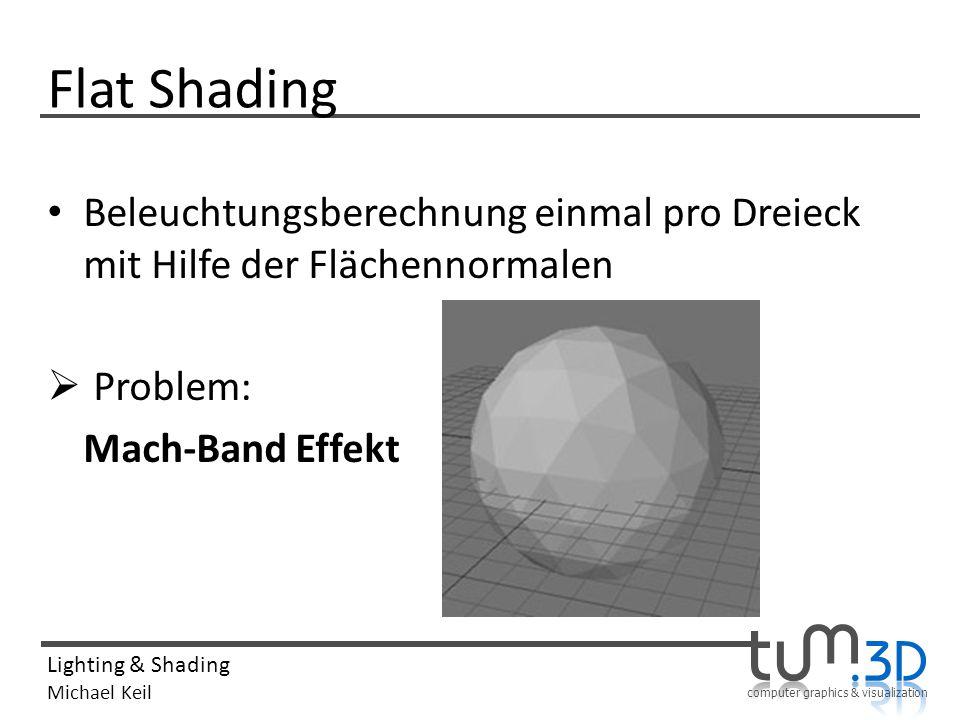 computer graphics & visualization Lighting & Shading Michael Keil Flat Shading Beleuchtungsberechnung einmal pro Dreieck mit Hilfe der Flächennormalen