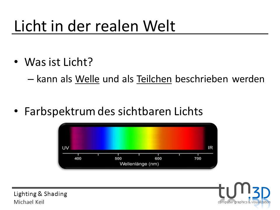 computer graphics & visualization Lighting & Shading Michael Keil Diffuse Light Reflexion des eintreffenden Lichts in jede Richtung Einfallswinkel beeinflusst Lichtintensität