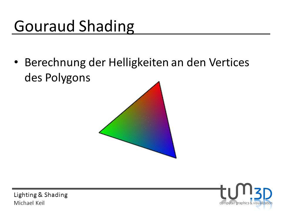 computer graphics & visualization Lighting & Shading Michael Keil Gouraud Shading Berechnung der Helligkeiten an den Vertices des Polygons