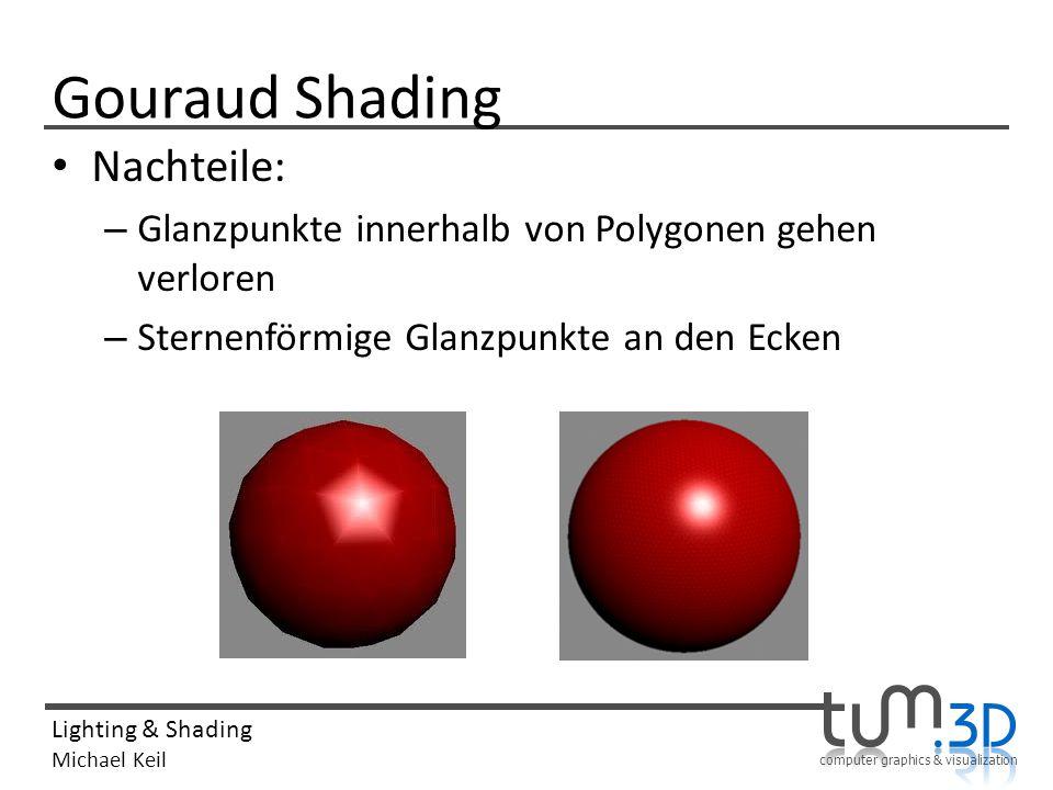 computer graphics & visualization Lighting & Shading Michael Keil Gouraud Shading Nachteile: – Glanzpunkte innerhalb von Polygonen gehen verloren – St