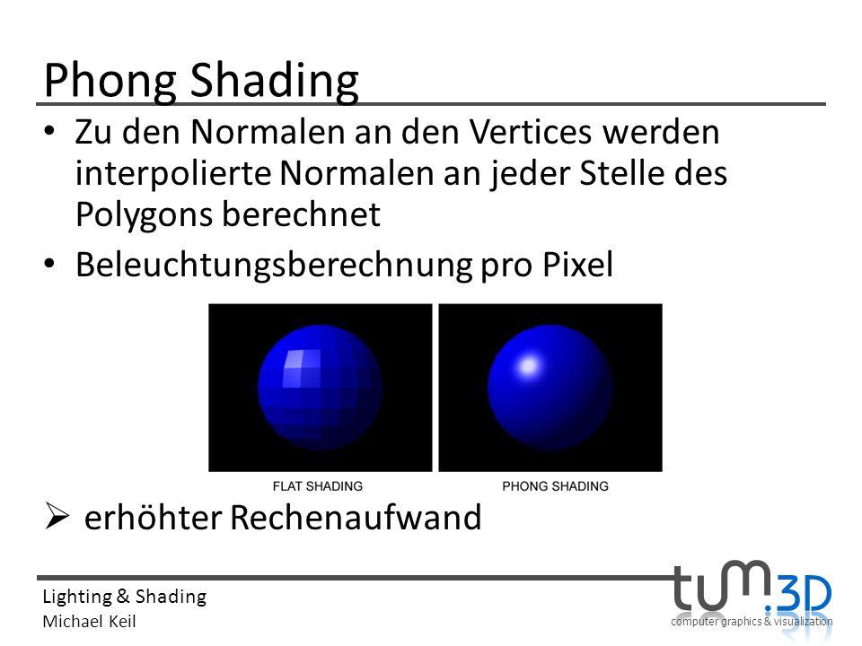 computer graphics & visualization Lighting & Shading Michael Keil Phong Shading Zu den Normalen an den Vertices werden interpolierte Normalen an jeder