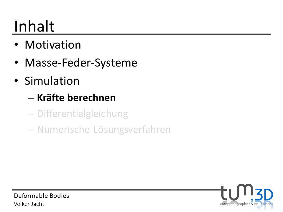 computer graphics & visualization Deformable Bodies Volker Jacht Inhalt Motivation Masse-Feder-Systeme Simulation – Kräfte berechnen – Differentialgleichung – Numerische Lösungsverfahren