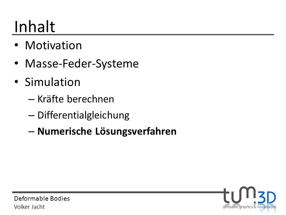 computer graphics & visualization Deformable Bodies Volker Jacht Inhalt Motivation Masse-Feder-Systeme Simulation – Kräfte berechnen – Differentialgle