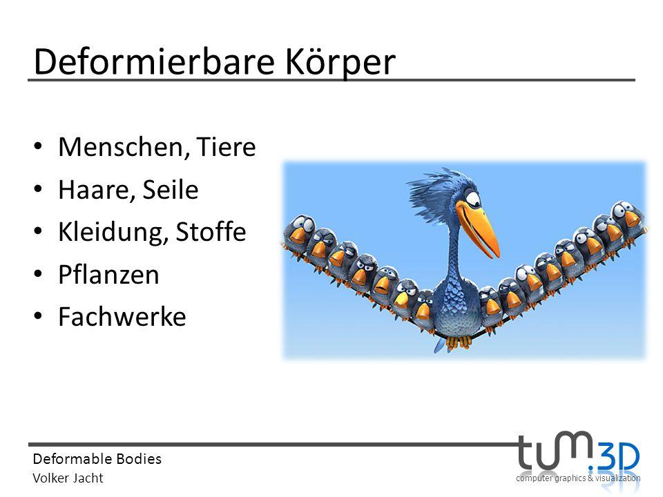 computer graphics & visualization Deformable Bodies Volker Jacht Quellen http://www.cs.cmu.edu/~baraff/sigcourse/ – Differential Equation Basics – Particle Dynamics – Implicit Methods Wiki – Masse-Feder-System_(Computergrafik) – Implizites_Euler-Verfahren http://public.beuth- hochschule.de/~stevie/mod+sim/node40.html http://public.beuth- hochschule.de/~stevie/mod+sim/node40.html