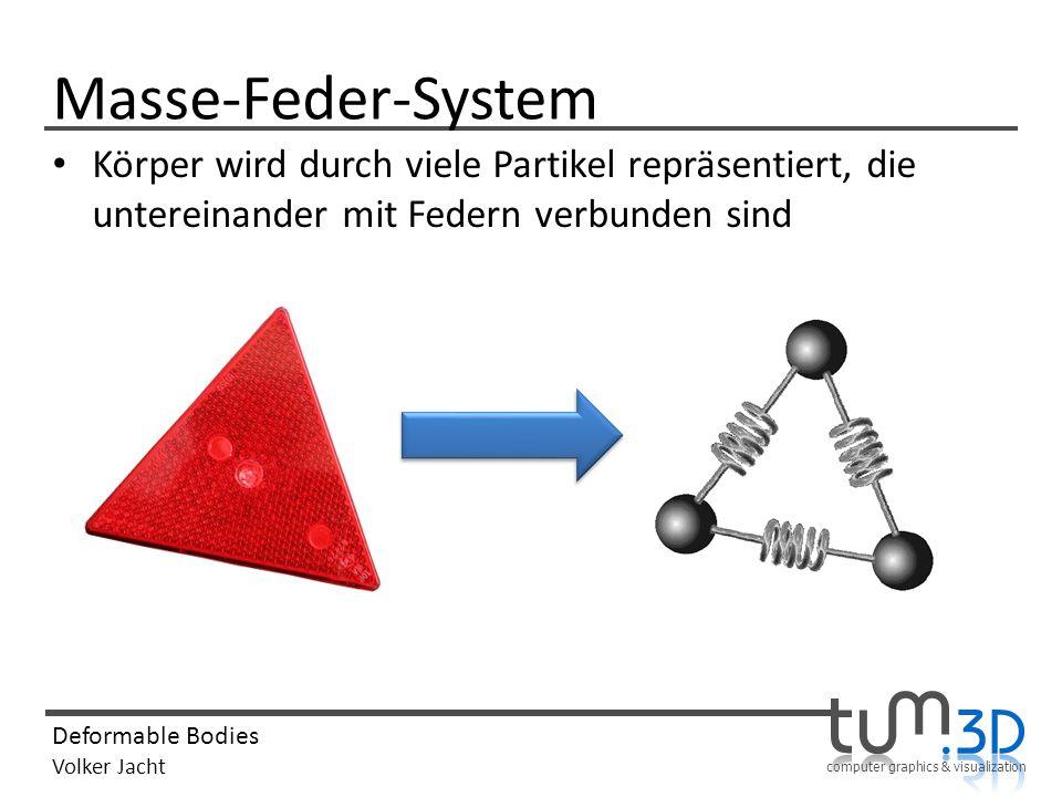 computer graphics & visualization Deformable Bodies Volker Jacht Masse-Feder-System Körper wird durch viele Partikel repräsentiert, die untereinander mit Federn verbunden sind