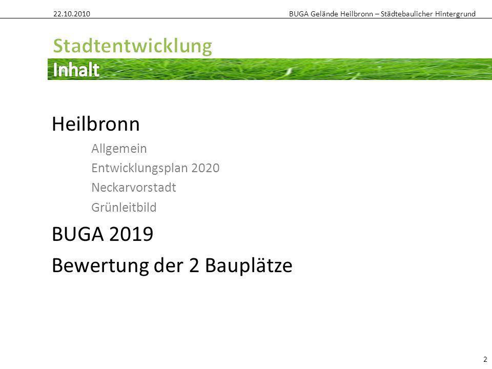 BUGA Gelände Heilbronn – Städtebaulicher Hintergrund Heilbronn Allgemein Entwicklungsplan 2020 Neckarvorstadt Grünleitbild BUGA 2019 Bewertung der 2 B