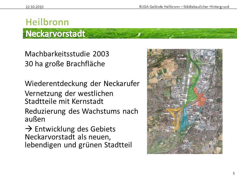 BUGA Gelände Heilbronn – Städtebaulicher Hintergrund Machbarkeitsstudie 2003 30 ha große Brachfläche Wiederentdeckung der Neckarufer Vernetzung der we