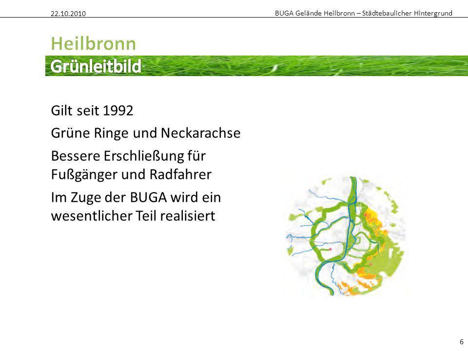 BUGA Gelände Heilbronn – Städtebaulicher Hintergrund 6 Gilt seit 1992 Grüne Ringe und Neckarachse Bessere Erschließung für Fußgänger und Radfahrer Im