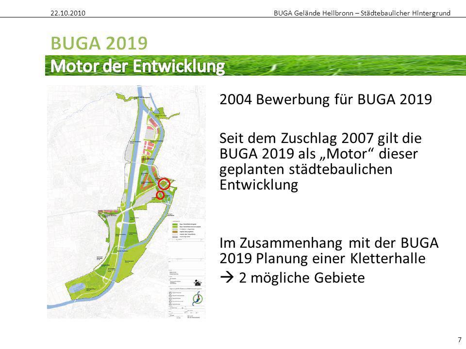 BUGA Gelände Heilbronn – Städtebaulicher Hintergrund 22.10.2010 7 2004 Bewerbung für BUGA 2019 Seit dem Zuschlag 2007 gilt die BUGA 2019 als Motor die