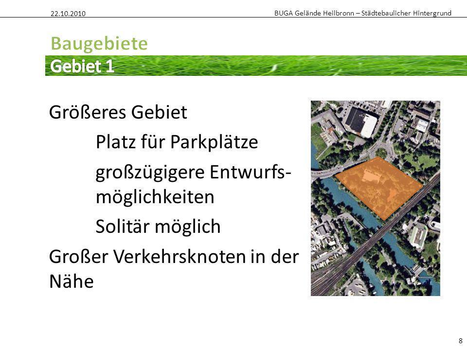 BUGA Gelände Heilbronn – Städtebaulicher Hintergrund Größeres Gebiet Platz für Parkplätze großzügigere Entwurfs- möglichkeiten Solitär möglich Großer